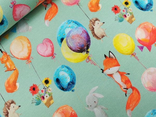 French Terry, Sommersweat, Sweat, Watercolor, Ballontiere, Ballon, Tiere, Fuchs, Igel, Hase, mint
