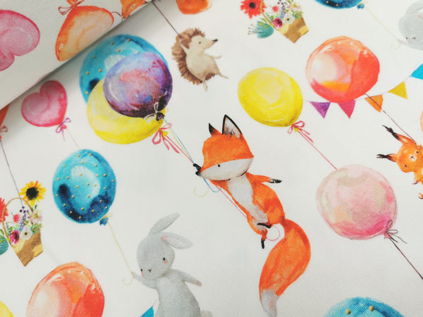 French Terry, Sommersweat, Sweat, Watercolor, Ballontiere, Ballon, Tiere, Fuchs, Igel, Hase, weiß, Aquarell