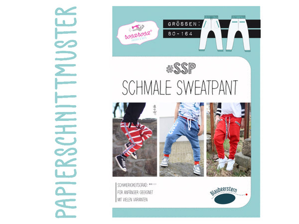 "Schnittmuster ""SSP"" schmale Sweatpant, rosarosa, Gr. 80-164"