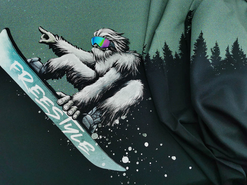 Panel, Sommersweat, French Terry, Yeti Crossing Wald, cool,