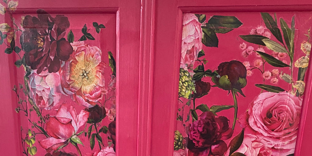 Cupboard upcycled by Little Gems Interiors in shades of deep pink