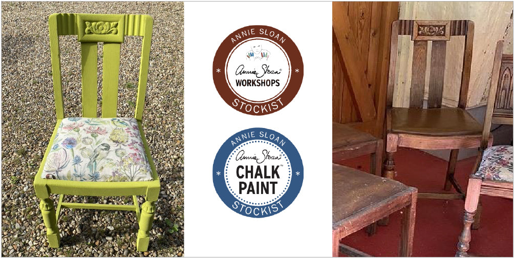 before and after image of an upcycled chair