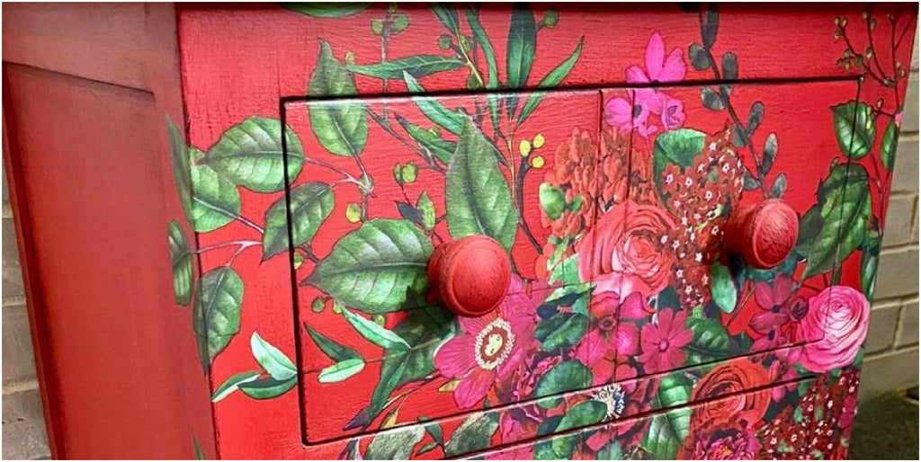 upcycled cabinet in shades of red by Little Gems Interiors