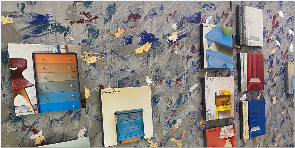 Images on a wall showing examples of furniture upcycled with chalk paint