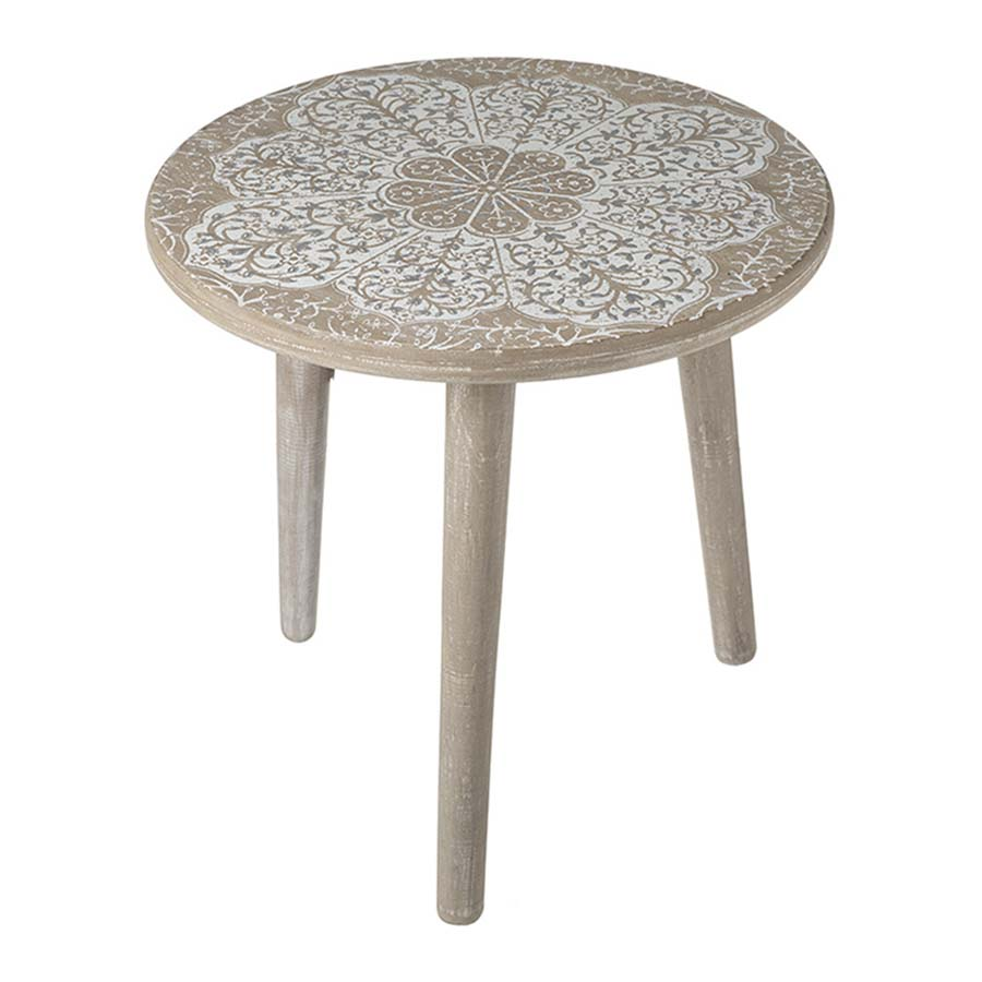 Mandala Print Side Table