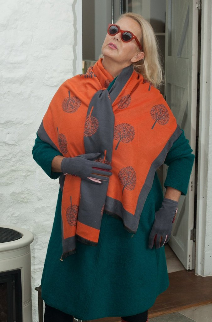 Tree of Life Scarf - Orange Dark Grey - Little Gems Interiors