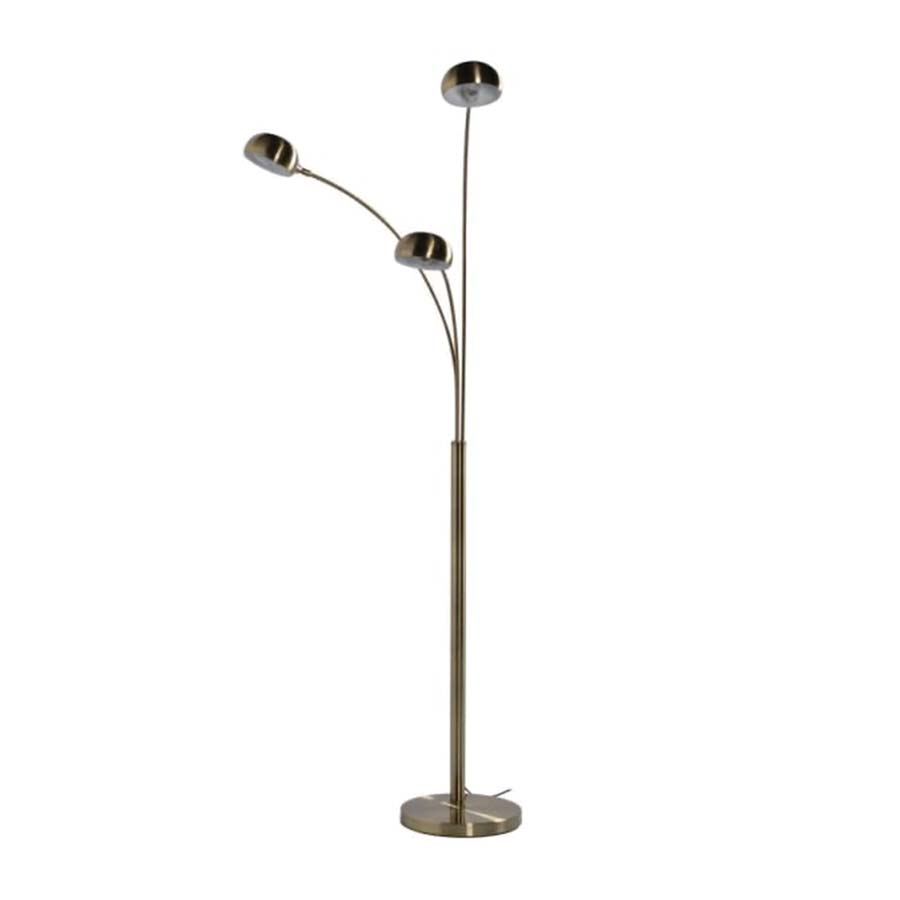 Three Arm Brushed Brass Floor Lamp