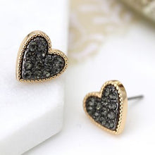 Load image into Gallery viewer, Gold plated heart stud earrings with black crystal