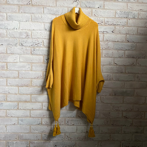 Cowl Neck Batwing Sleeves Tassels Tunic Poncho - various colours - Little Gems Interiors