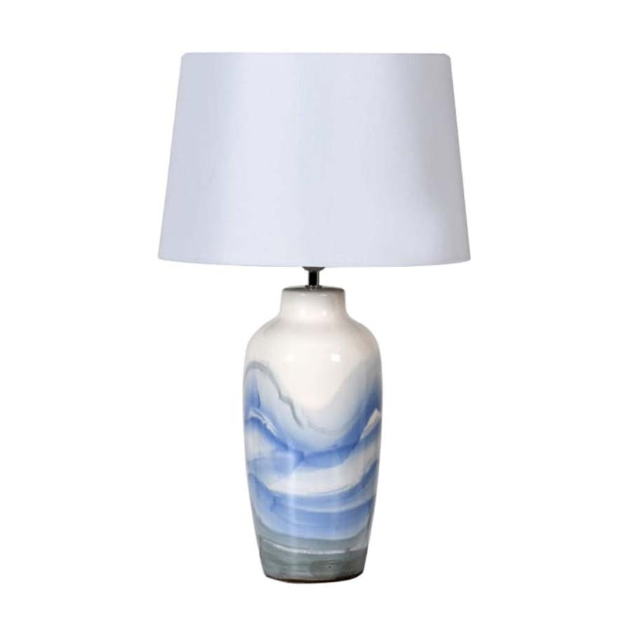 Hand Painted Blue Wave Lamp With Shade