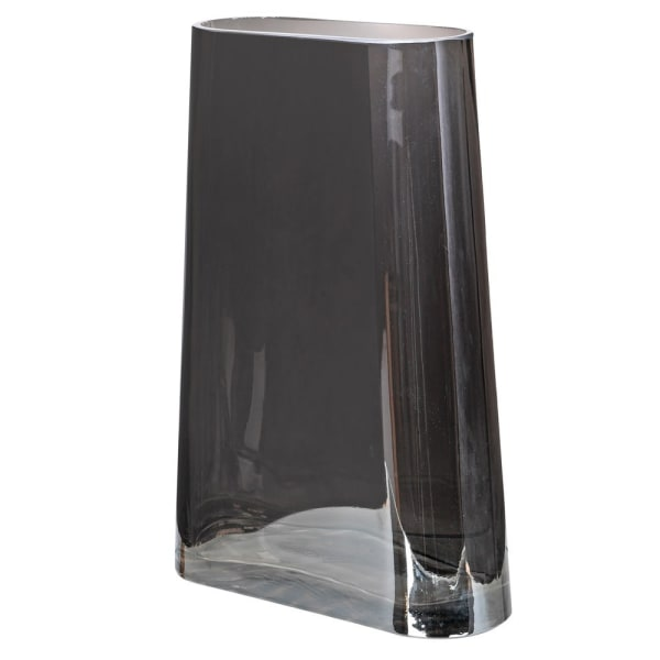 Large Smoked Glass Tapered Vase