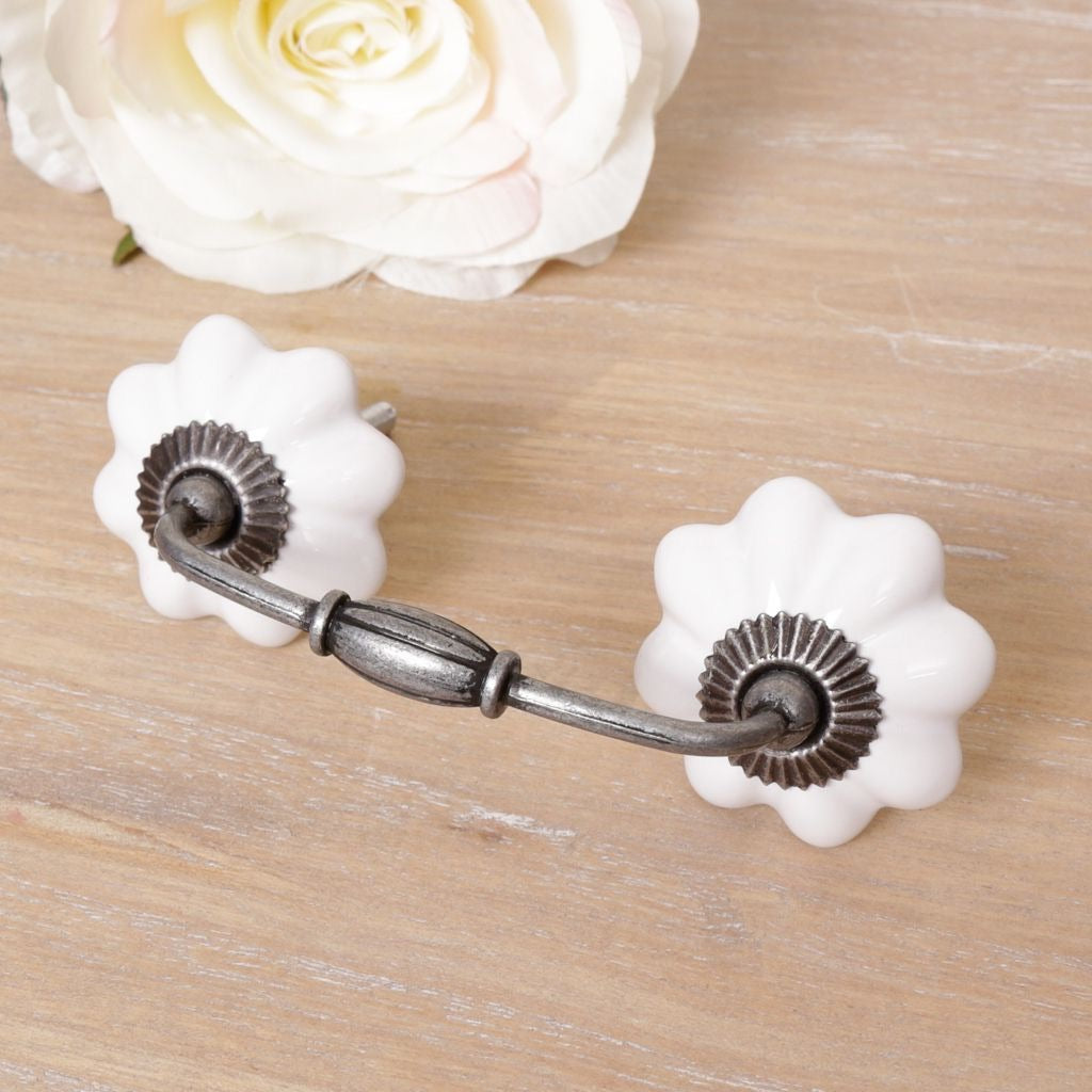 Twin White Drawer Handle