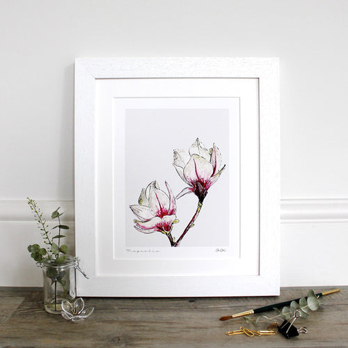 Magnolia 10×12″ mounted fine art print - Little Gems Interiors