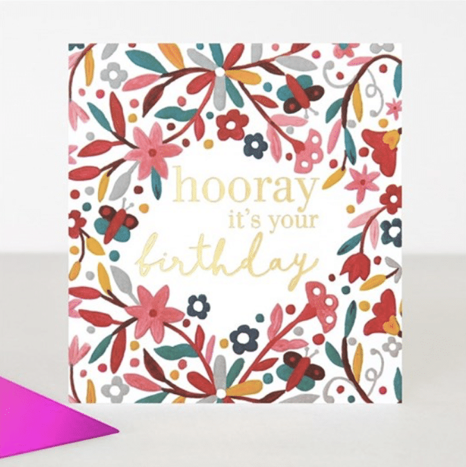 Hooray Floral Birthday Card - Little Gems Interiors