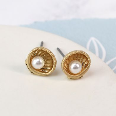 Gold plated shell and pearl earrings