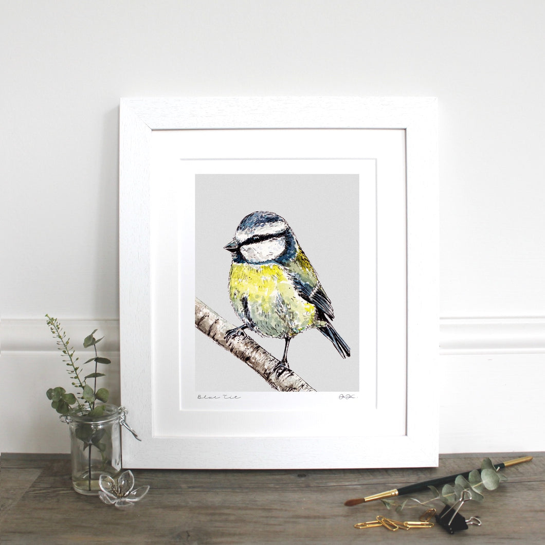 Blue Tit 10×12″ Mounted fine art print - Little Gems Interiors