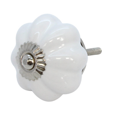 Door Knob - Ceramic Flower White - Little Gems Interiors