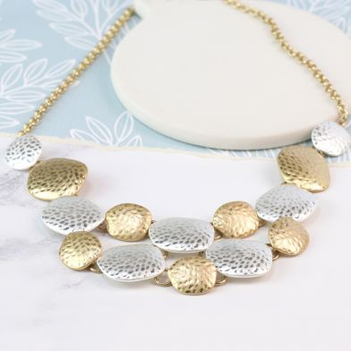 Silver and gold plated hammered pebbles necklace - Little Gems Interiors