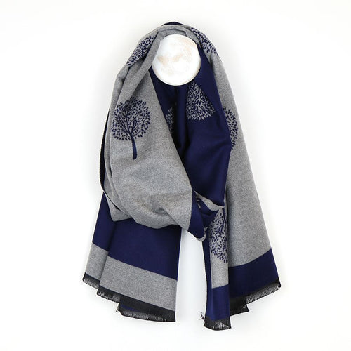 Navy tree of life jacquard scarf - Little Gems Interiors