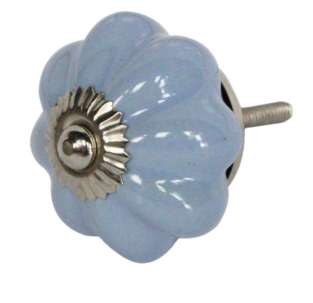 Door Knob - Ceramic Flower Periwinkle
