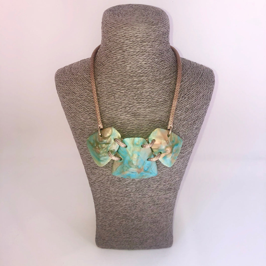 Turquoise and Gold Short Necklace - Little Gems Interiors