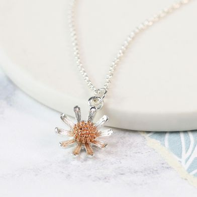 Silver plated and rose gold daisy necklace - Little Gems Interiors