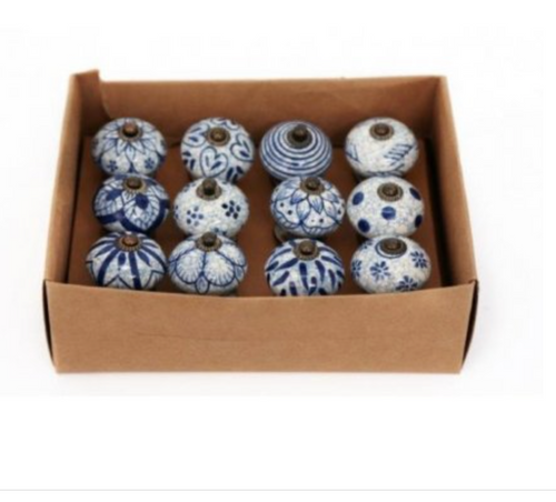 Rustic Blue and White Ceramic Door Knobs - Little Gems Interiors