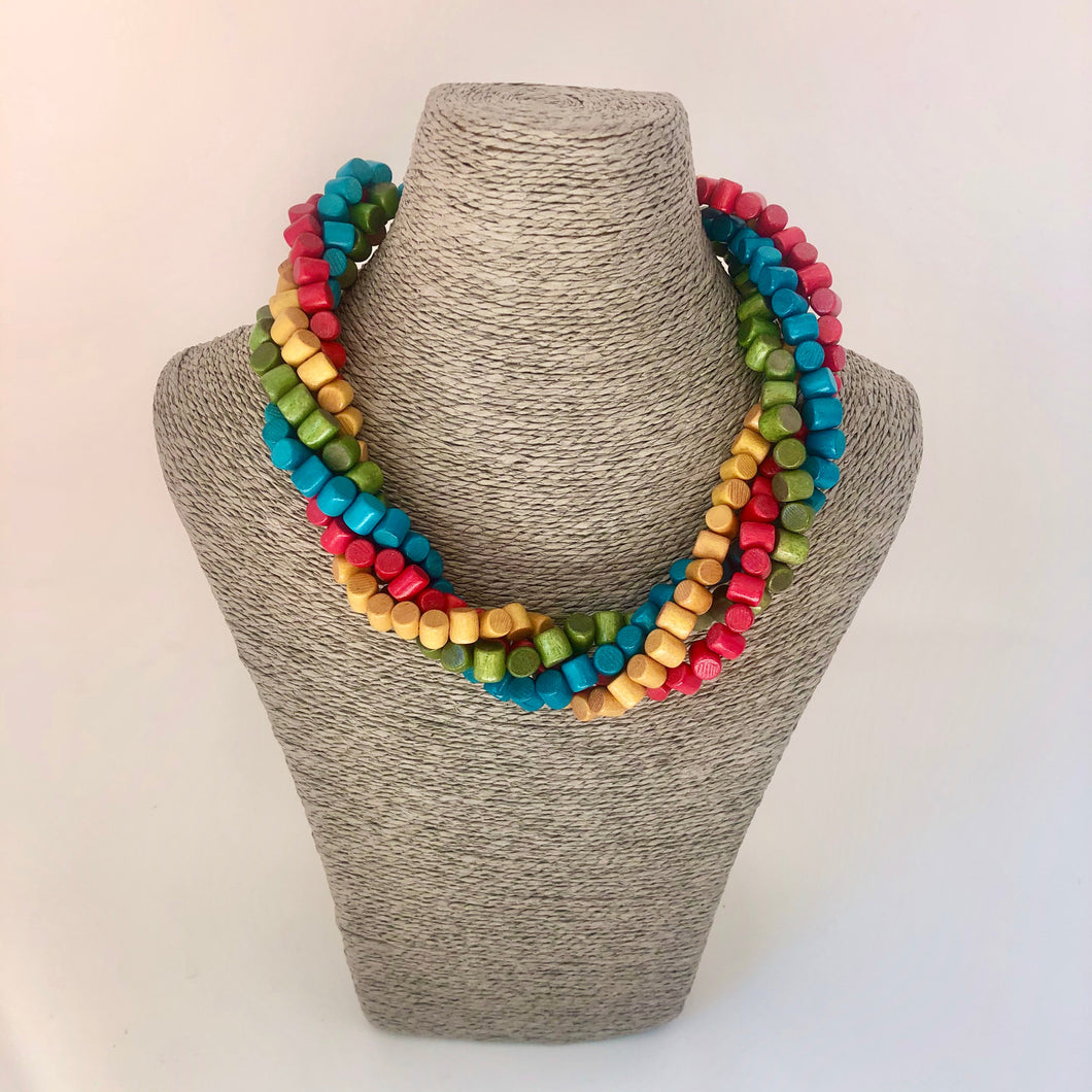 Multi Coloured Twisted Necklace - Little Gems Interiors