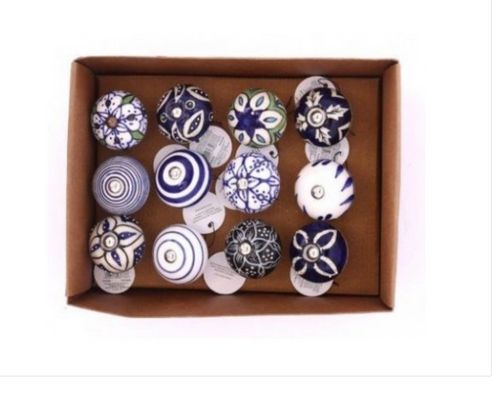 Patterned Rustic Blue and White Door Knobs - Little Gems Interiors