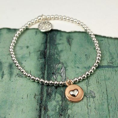 Silver Heart In Rose Gold Disc Stretch Bracelet - Little Gems Interiors
