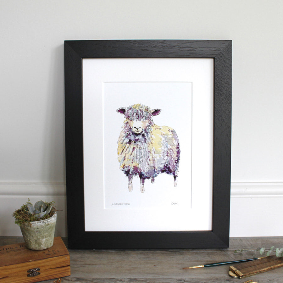 Lavender Yarns Longwool Sheep 12×16″ mounted fine art print - Little Gems Interiors