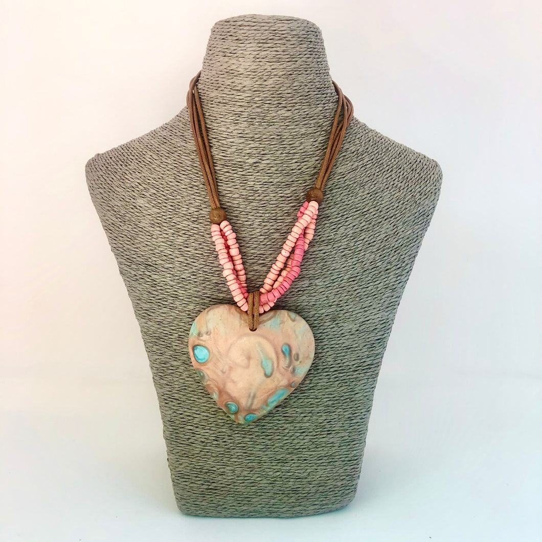 Short Coral Necklace with Heart Stone - Little Gems Interiors