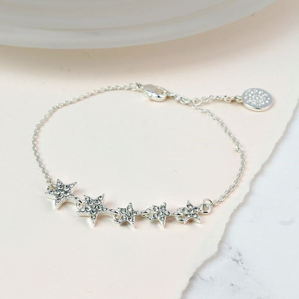 Silver plated mutli star bracelet with clear crystals - Little Gems Interiors