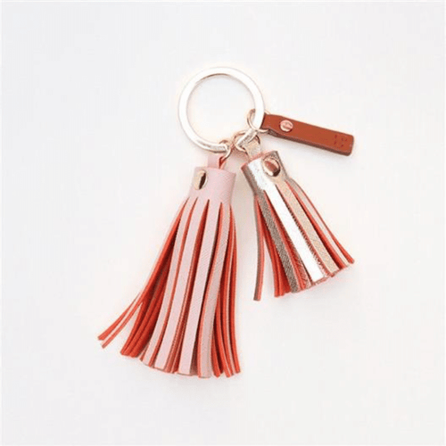 Pink and Gold Double Tassel Keyring - Little Gems Interiors