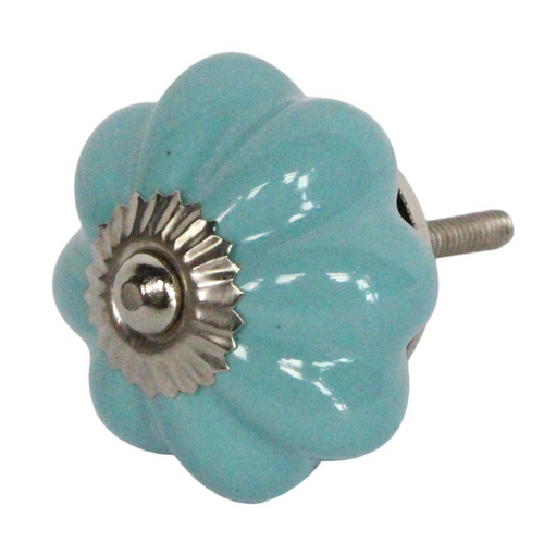 Door Knob - Ceramic Flower Celeste - Little Gems Interiors