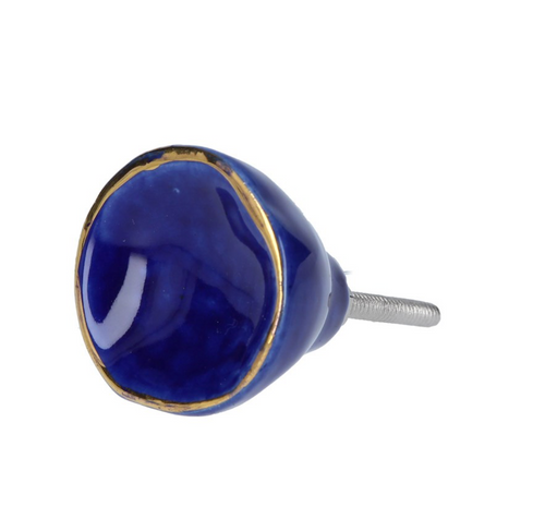 Door Knob - Blue Crackle/Gold Trim - Little Gems Interiors