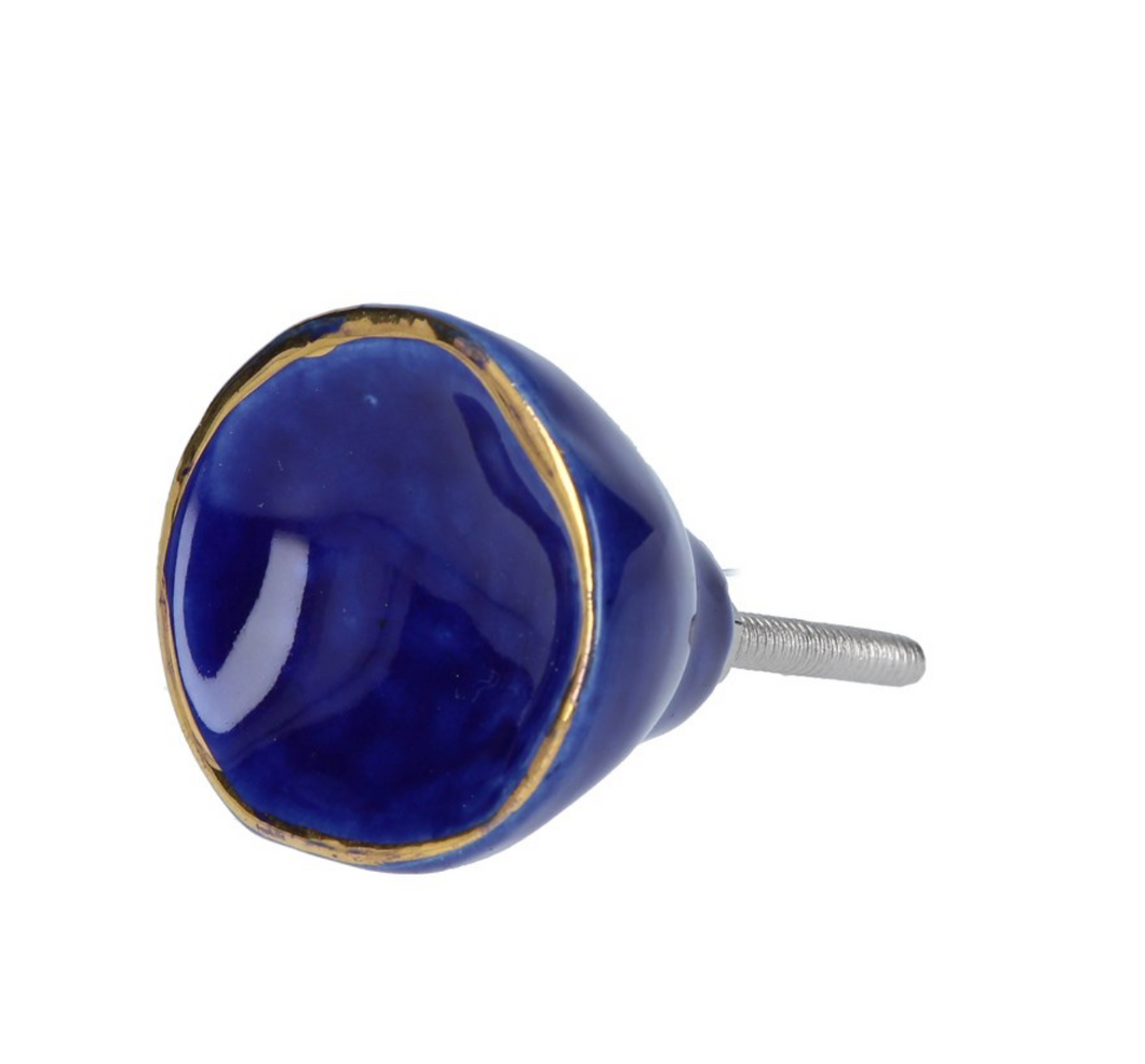Door Knob - Blue Crackle/Gold Trim