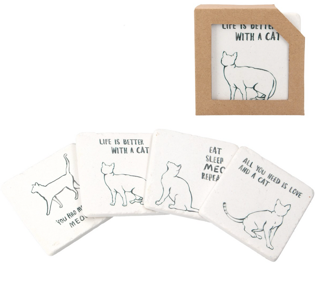 Resin Coaster - Cat Quotes/Line Drawing Pack of 4