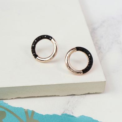 Black Crystal And Rose Gold Circle Earrings - Little Gems Interiors