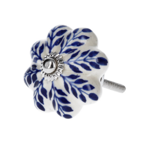 Door Knob - Ceramic Flower/Navy Leaves - Little Gems Interiors