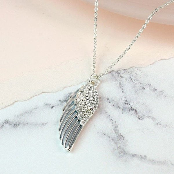 Silver Plated Grey Enamel Crystal Angel Wing Necklace