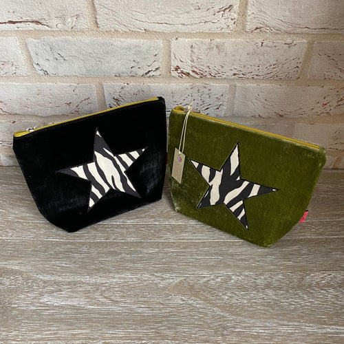 Lua Zebra Print Star Velvet Large Cosmetic Bag/Purse - Little Gems Interiors