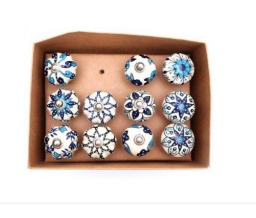 Blue Patterned Door Knobs - Little Gems Interiors
