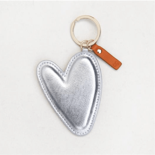 Heart-Shaped Keyring Silver - Little Gems Interiors