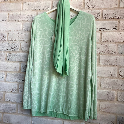 Linen blend knit print top with scarf - various colours - Little Gems Interiors
