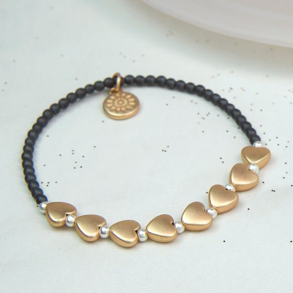 Grey Bead Matt Gold Heart Bracelet - Little Gems Interiors