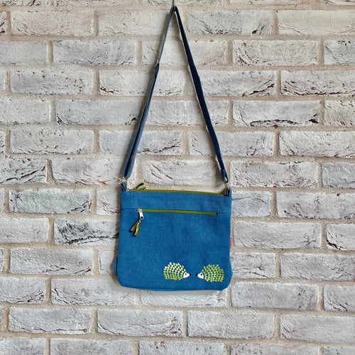 LUA Embroidered Hedgehog Canvas Messenger Bag - Little Gems Interiors