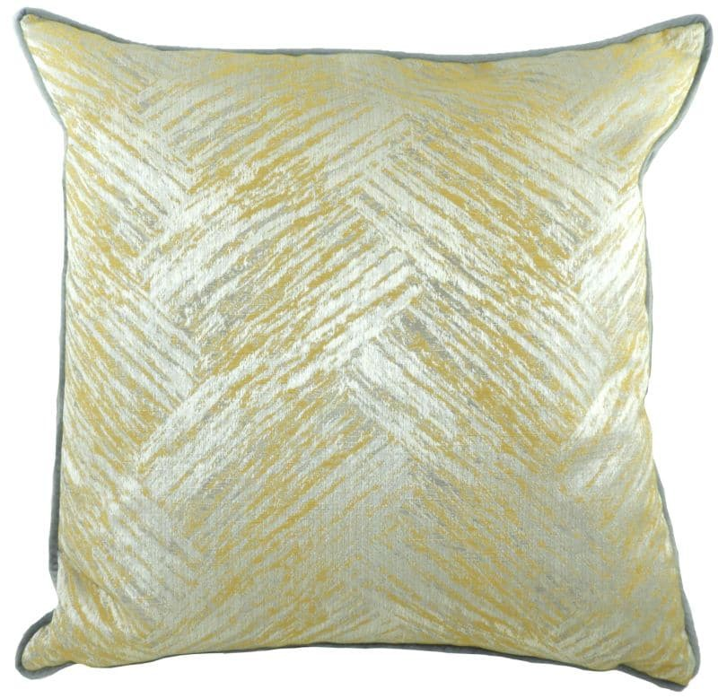 PIPED FAWSLEY HILLIER OCHRE CUSHION - Little Gems Interiors