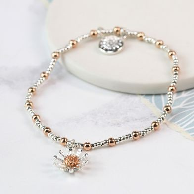 Silver plated and rose gold daisy bracelet - Little Gems Interiors