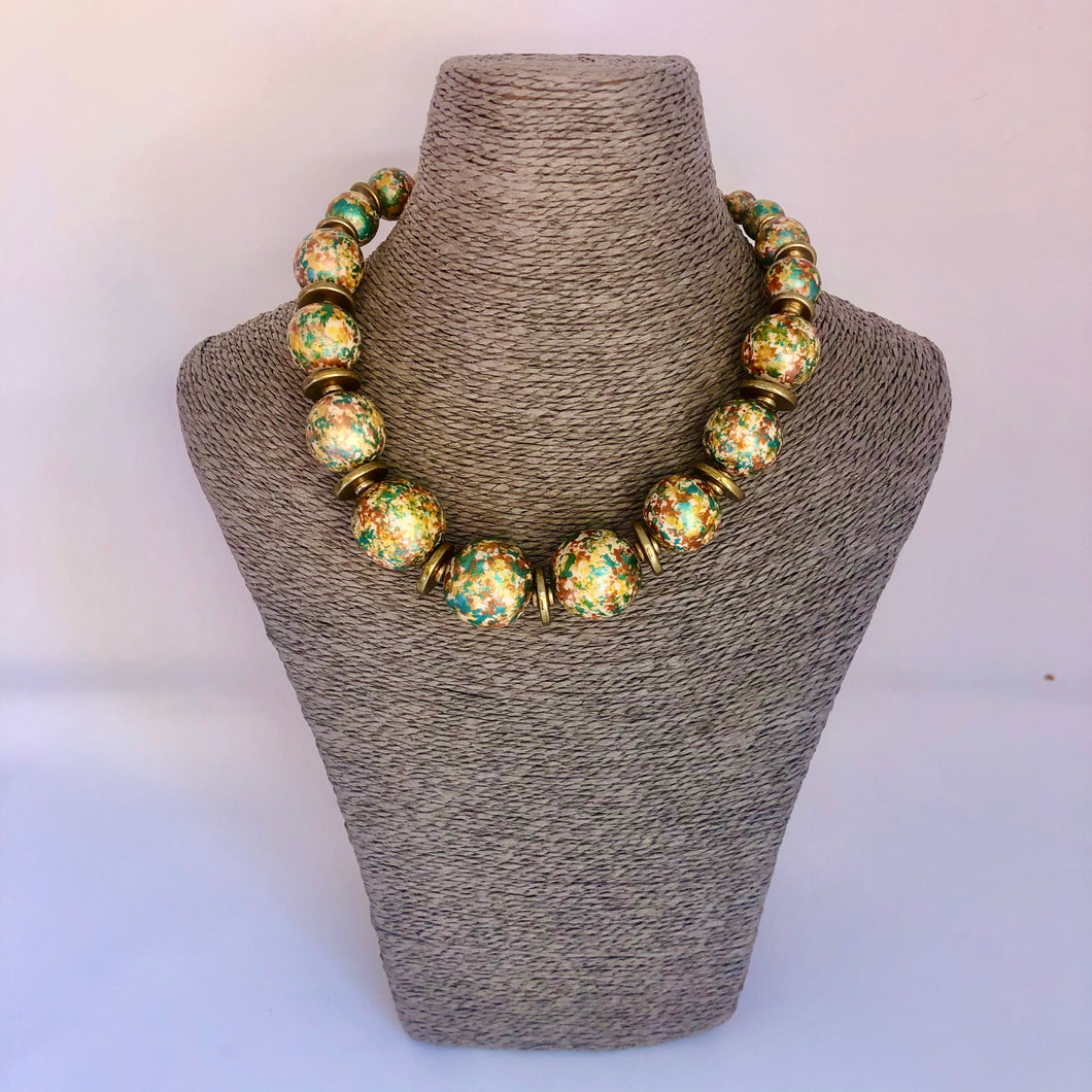 Multi Coloured Round Beaded Necklace - Little Gems Interiors